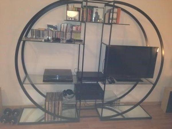 Designer Regal schwarz mit Glasböden
