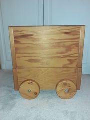 Holzkiste Aufbewahrungskiste mit Rädern zweiteilig