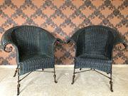 Stuhl Korbstuhl Korbstühle mit geschmiedeten
