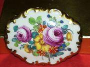 Alte ROSENTHAL Porzellan-Brosche mit Vergoldung