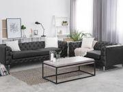 Sofa Set Kunstleder schwarz 5-Sitzer