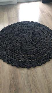 Häkelteppich schwarz Durchmesser 1 40m