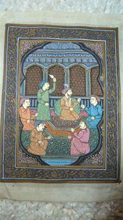 Originale Orientalische Seidenmalerei goldglänzende Farben
