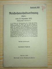 Reichshaushaltsordnung RHO 31 12 1922