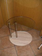 Tisch Beistelltisch Glastisch rollbar