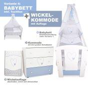 Babybett Wickelkommode- Herzen Blau NEU