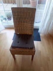 4xRattan Stühle mit Auflagen