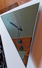 Top Design-Glas-Wandspiegel mit eingesetzter Uhr