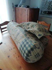 Schlafsofa mit Rückenkissen rollen