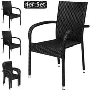 Poly Rattan 4er Set Stapelstuhl