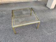 Gold Messing Glastisch Couchtisch