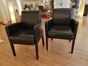 2 Stühle Sessel dunkelbraun Kunstleder