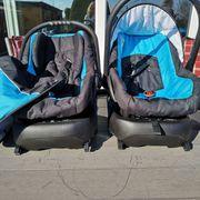Zwillingskinderwagen mit 2 Babyschalen Isofix
