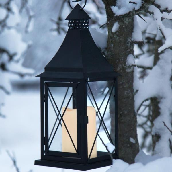 Grabschmuck Laterne schwarz LED Grablaterne