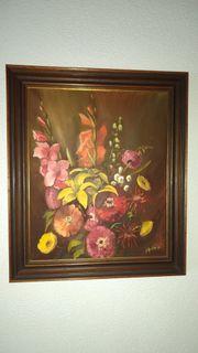 Ölgemälde auf Leinwand bunter Blumenstrauß