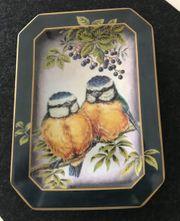 Porzellan-Wandteller Blumenmeisen- Duo