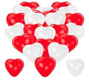 Herzluftballons rot weiß 100 Stück