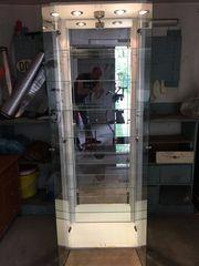 Glasvitrine weiß beleuchtet 32x57x168cm TxBxH