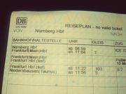 DB Fahrkarte Nürnberg-Frankfurt am Main