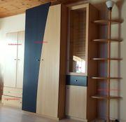 Komplettes Jugendzimmer Buche-Dekor blau Wohnwand