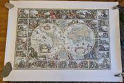 Land- Feldherrn- Weltkarte 17 Jahrhundert 77x108cm