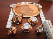 schönes Puppenstuben-Gold-Teeservice 8-tlg