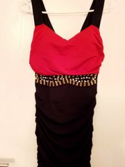 Gr S 36 Rot-Schwarzes Abendkleid