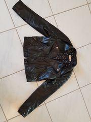 schwarze Biker Leder Jacke von