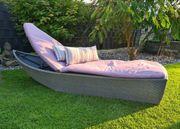 Gartenliege Polyrattan Loungeliege Sonnenliege Schiffchen