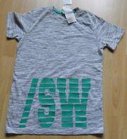 T-Shirt Gr 158 164 grau-meliert mit