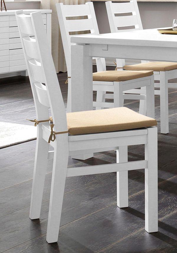 NEU 2er Esszimmer-Stühle Massiv-Holz Landhaus weiß ...