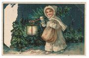 Postkarte Fröhliche Weihnachten Litho Prägekarte
