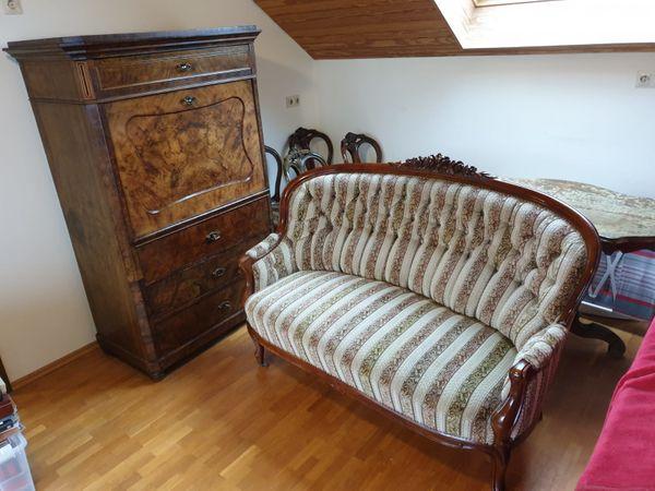 Sehr Schöne Gepflegte Antike Möbel Sekretär Sofa 4 Stühle