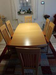 Esszimmergruppe Tisch und 6 gepolsterte
