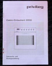 Gebrauchs - Montageanleitung für Privileg Elektro