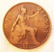 ONE PENNY Münze aus England