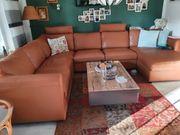 Leder sofa champagner farbend