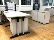 Schreibtisch Winkelkombination mit Aktenschrank rückseitig