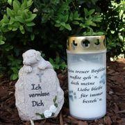 Hundegrab Set Gedenkstein mit Gedenklicht
