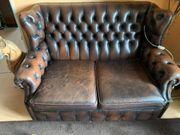 Chesterfiield Sitzgruppe Vintage braun
