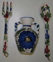 Bemalte Steinzeugvasen Besteck Keramikvase