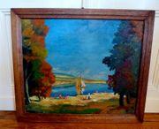 Top altes Gemälde Ölgemälde Badespass