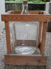 Glasballon 15 Liter im Holzgestell