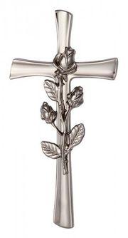 Kreuz mit Rose silberfarben für
