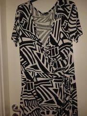 Jerseykleid schwarz weiß gemustert