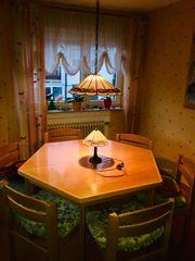 Echtholz 6-eckiger Tisch 6 Stühle