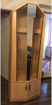 Vitrine Buche Holz Glas Spiegel
