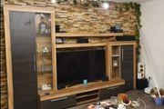 Neuwertige Wohnwand Holz Anthrazit
