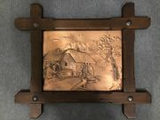 Kupferbild im Holzrahmen Wassermühle