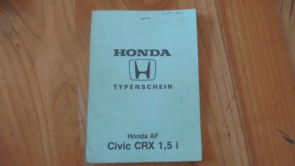 Honda Civic CRX Typenschein